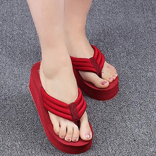 Pantuflas de paja - Chanclas de plataforma del talón de cuña de mujer, zapatos de playa casuales de Flip-Flop de mujer - Vino Red_36, sandalias de piel para hombre