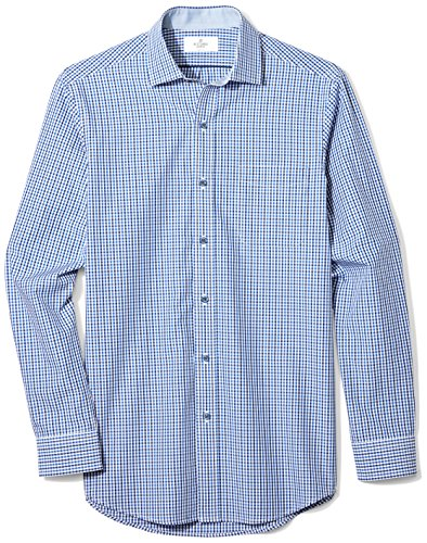 BUTTONED DOWN Men's Classic Fit Supima Cotton Spread-Collar Dress Casual Shirt, Navy/Blue Tatersol, L 34/35