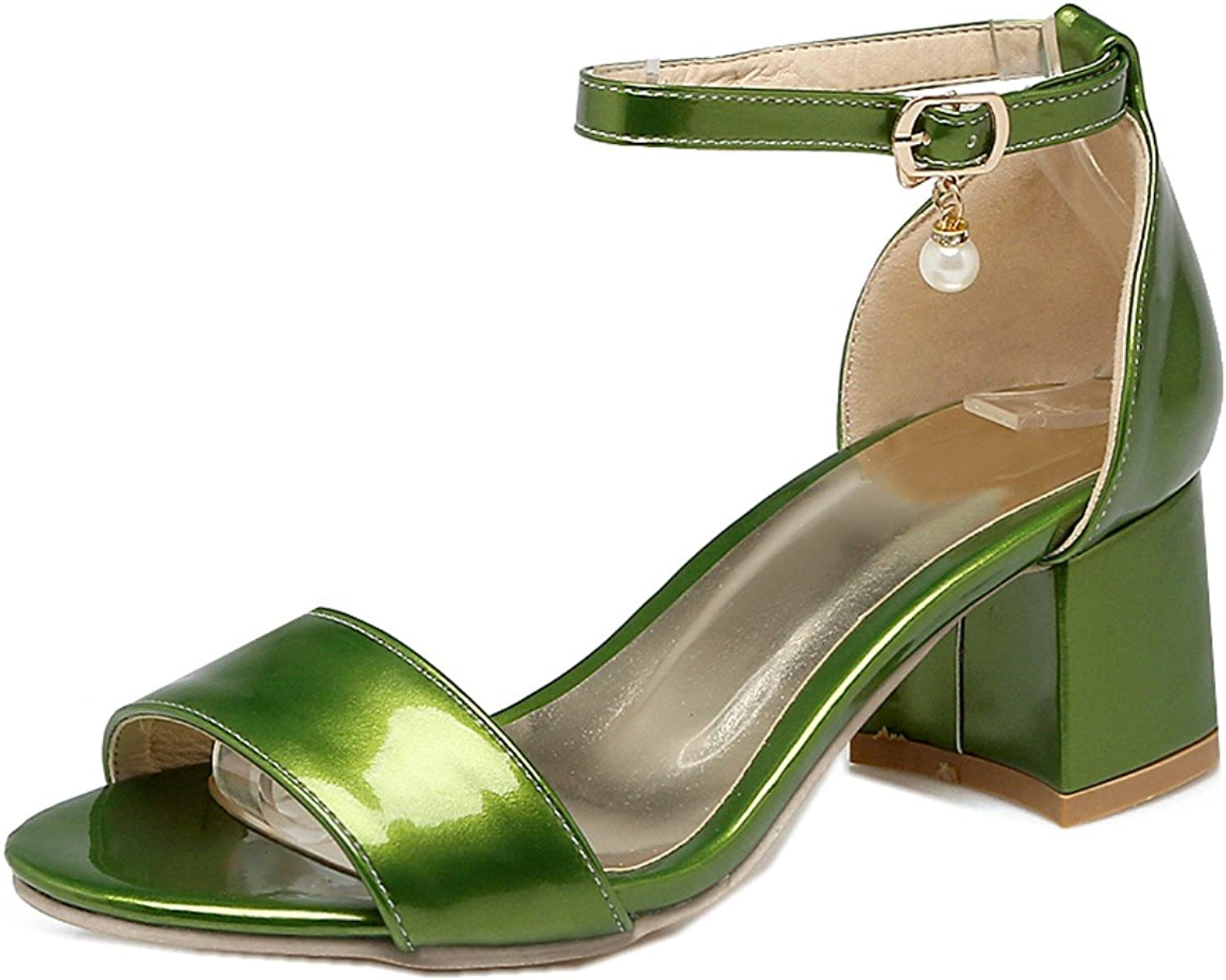 Rongzhi Womens Heeled Sandals Ankle Strap Buckle Chunky Block Heels shoes Open Toe Patent Leather Plus