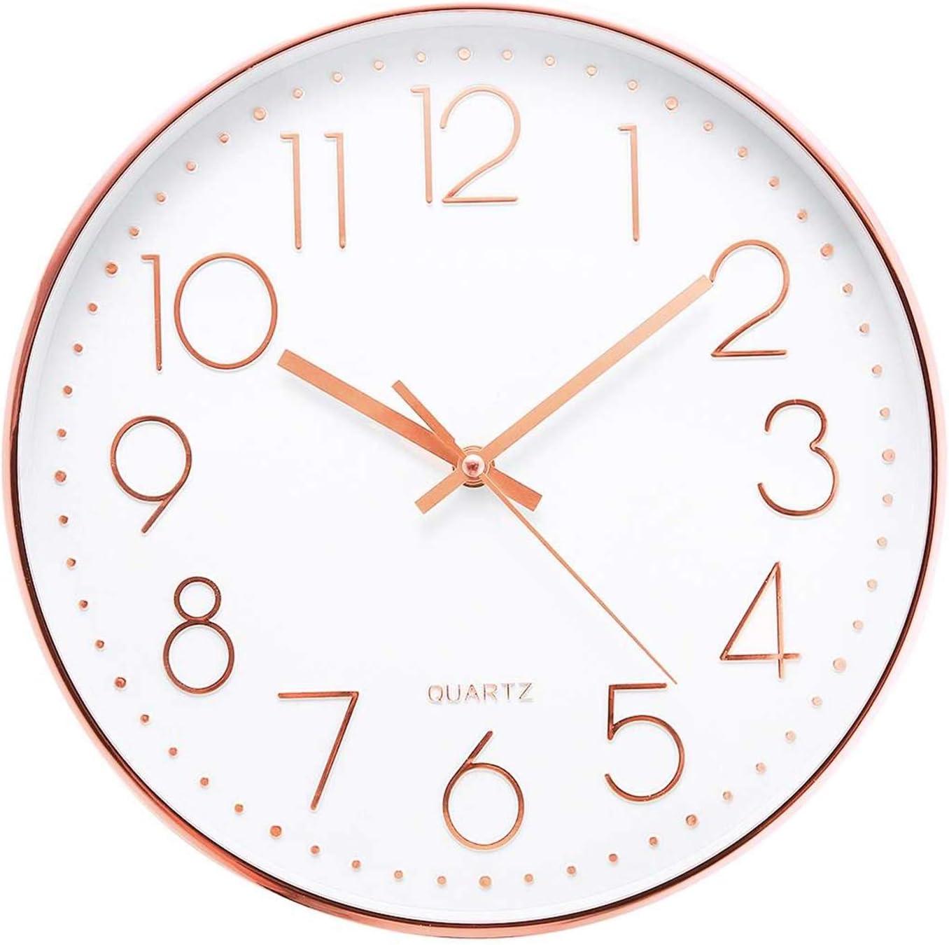 Rcsinway 12 inch Limited time cheap sale Rose Gold Silen Super-cheap Clock Non-Ticking Luminous Wall