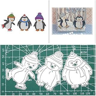 PeriwinkLuQ Lot de 3 matrices de découpe en forme de pingouin pour scrapbooking, décoration d'album – Argenté