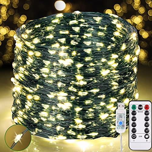 Weihnachtsbaum Lichterkette , Lichterkette Tannenbaum 20m 200 Micro Led, Weihnachten Beleuchtung Led Cluster Lichterkette AußEn Warmweiß, Led...