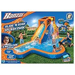 cheap Banzai Slide'N Soak Splash Park Permanent Aerial Water Slide (height about 8 feet, with fans …