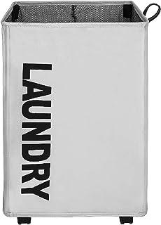 Amazon Brand – Umi Panier à Linge Pliable avec 4 Roues,Grande Capacité Pliable Sac à Linge,Collecteur de Buanderie Bac à L...