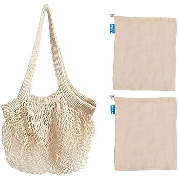 Bolsa Compra Red, Organizador de bolsas reutilizables de algodón para el mercado, Bolsas de productos de malla Bolsas de almacenamiento de alimentos ecológicos para frutas y verduras (paquete de 3): Amazon.es: Hogar