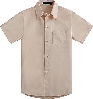 Spring&Gege Chicos Manga Corta Abotonar Camisa para Niño (3-12 Años)