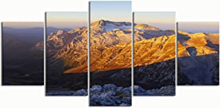 XINGAKA Paintings Modern Canvas Painting Wall Art Pictures 5 Pieces, Dawn on Mount fisht,Wall Decor HD Printed Posters Frame
