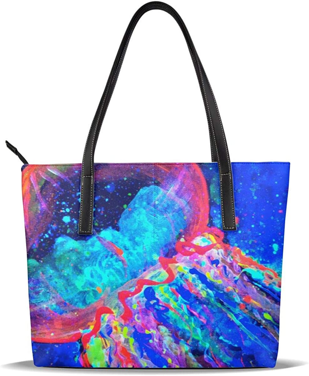 Blue Jellyfish Pictures Red PU Pattern Casual Ha Chicago Mall Max 82% OFF Leather Printed