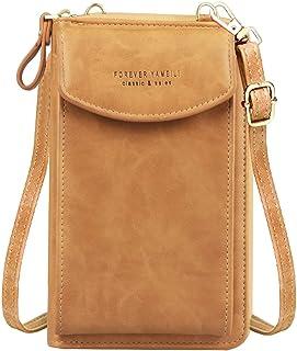 Jangostor kleine Crossbody Tasche Handy - Tasche Brieftasche mit Credit Card Slots für Frauen (A-Braun-2)