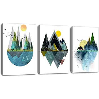 "Wall Art for Living Room Sunset Canvas Prints Picture Bathroom Wall Decor Abstract Geometric Mountains Artwork Landscape Canvas Painting Deer Murals for Walls Bedroom Office 12""x16""x3 Panels"