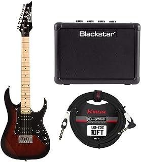Ibanez Mikro 6-String Solid-Body Electric Guitar (GRGM21MWNS) (Right-Hand, Walnut Sunburst) Bundle w/Fly 3 Guitar Amp & St...