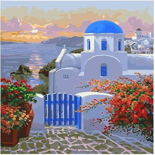 NDSLJSLYH Bricolage Peinture Numérique Villa en Bord De Mer, 60X75Cm Cadeau De Peinture à l'huile De étudiant Débutant pour Enfants Adultes Peindre Kits Home Decor