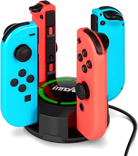 Chargeur pour Switch/Switch OLED Manettes Joy-Con, innoAura Support de Chargeur 4 en 1 pour NS Switch Joy-Con avec in...