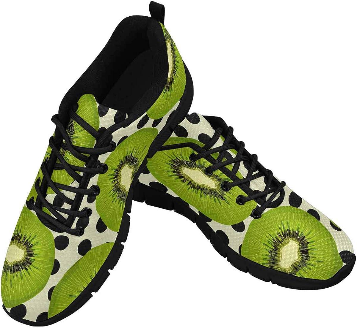 INTERESTPRINT Sunny Tropical and Exotic Fruits Kiwi Women's Athletic Walking Shoes Breathe Comfort Mesh