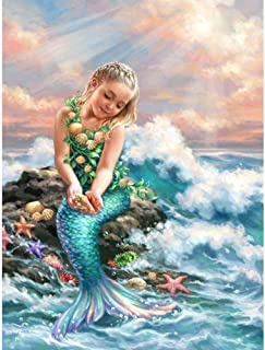 UPMALL DIY 5D Diamond Painting by Number Kits, Full Drill Crystal Rhinestone Embroidery Pictures Arts Craft for Home Wall Decoration Mermaid 11.8×15.7Inch