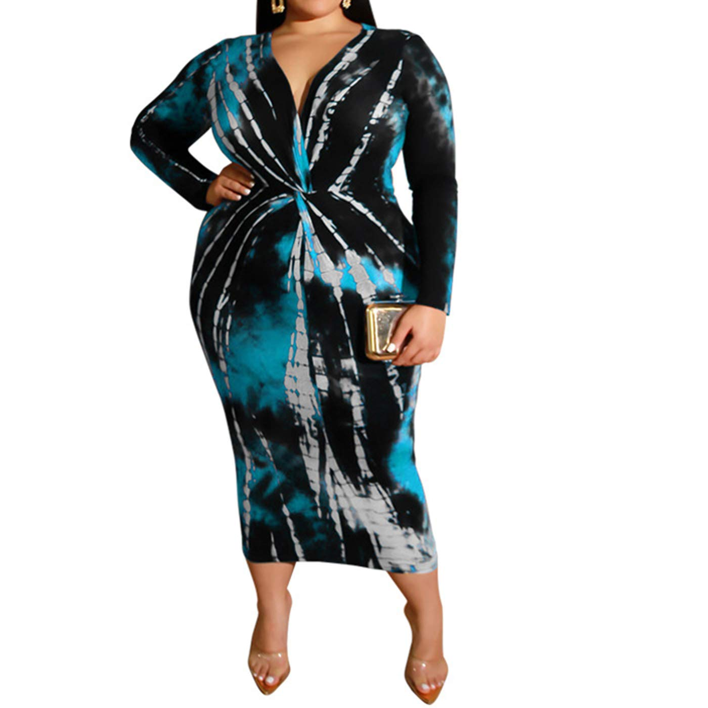Available at Amazon: IyMoo Women Sexy Plus Size Dress - Club Outfits Floral Print V Neck Long Sleeve Tie Dye Party Bodycon Dress