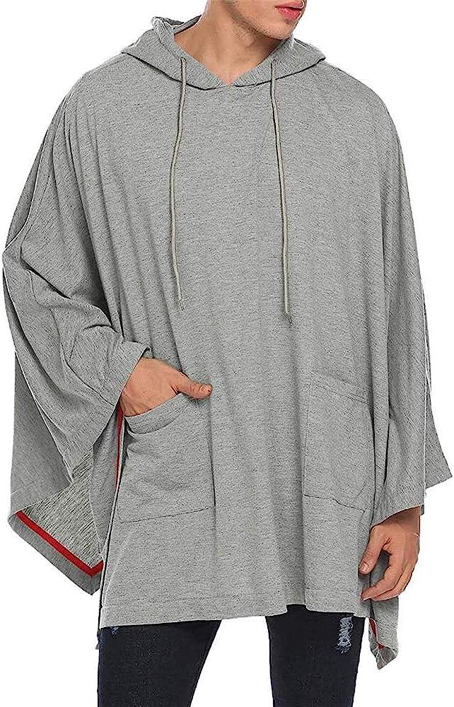 Qulvyushangmaobu - Sudadera con capucha para hombre, con capucha irregular, con bolsillo