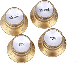 Musiclily Pro Imperial Inch Size Top Hat Bell Reflector 2 Volume 2 Tone Knobs Set for USA Les Paul SG Electric Guitar, Gol...