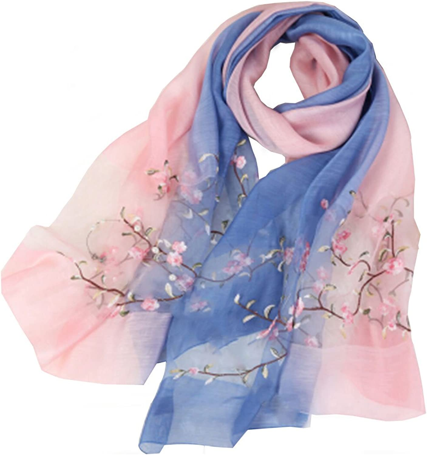 Blended silk scarf female spring and autumn thin scarf female mulberry silk embroidery shawl sunscreen scarf peach blossoming powder bluee gradient