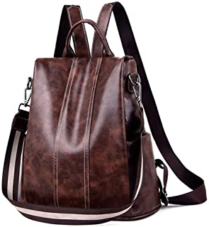 Womens Backpack PU Leather Back Pack for Ladies Handbag Fashion Crossbody Rucksack Bag Travel Shoulder Bags Casual Daypack (-brown)
