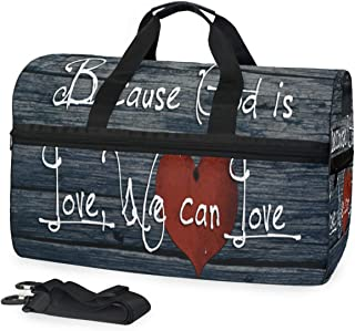 Duffle Bag The Love Of God Heart Gym Bag with Shoe Compartment Sport Bag for Men Women