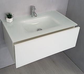 Meuble Selle De Bain Avec Plan Vasque En Verre Extra Clair Laqué Blanc CM 81