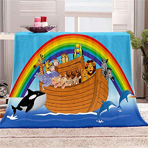 LOVEXOO 3D Impresa Cubierta de Cama Mantas de Sofa Barco Arcoiris 180x200 cm 100% Microfibre Extra Suave - Manta de para Infantil Hogar Viajar Black Friday