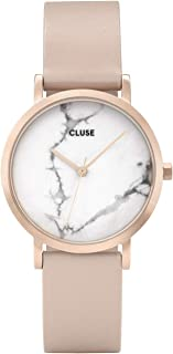 La Roche Petite Rose Gold White Marble CL40109 Women's Watch 33mm Leather Strap Minimalistic Design Casual Dress Japanese Quartz