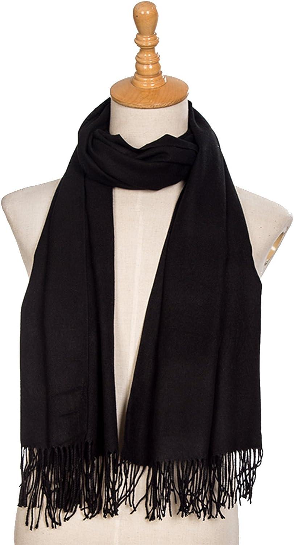DonDon Damen Schal einfarbig weich 185 x 65 cm Schwarz