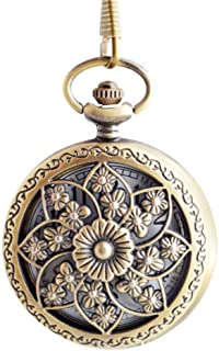 Flower Series Steampunk Quartz Pocket Watch Fob Retro Half Hunter Scale Pocket Watches for Women