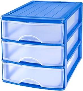 Cajonera Azul de plástico 3 cajones Transparentes 17.5 x 175 x 215 cm