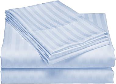 Scala Bedding 300 Thread Count Egyptian Cotton Luxurious Striped Duvet Cover Queen Sky Blue