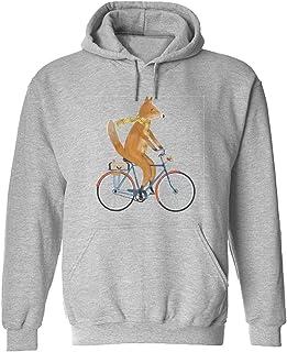 CCANE7 Men's Sudadera con Capucha Personalizada Fox Cyclist Divertido gráfico Sudadera con Capucha