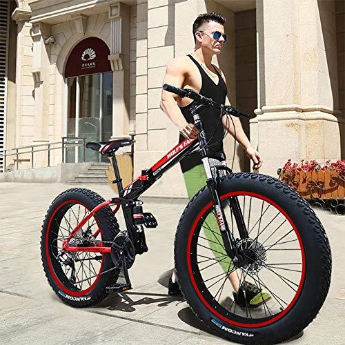 Outroad Mountain Bike, Men Women 17-Inch Fat Tire Sand Bike Double Disc Brake Suspension Frame Mountain Bike, 21-Speed, 26-inch Wheels Outdoor Bicycle Snow Bike (Red)