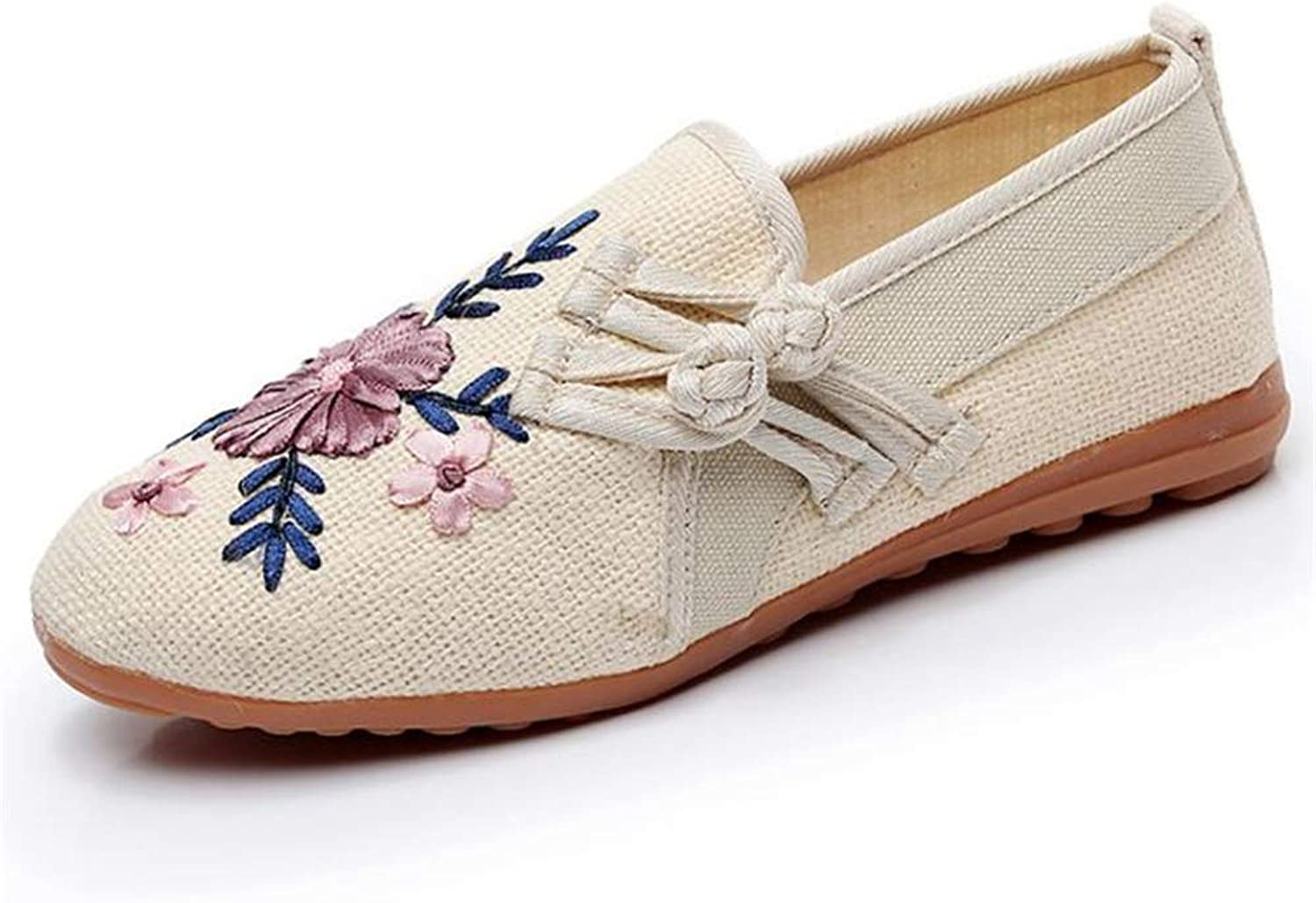 Gusha Elegant Women's shoes Embroidered Linen Flat shoes Comfortable peas shoes