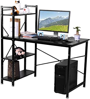 YXZQ Shelf, Computer Desk,H Shaped Steel Frame Wooden PC Laptop Desk Round Corner Desktop Desk Storage Shelving Study Writ...