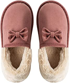 Liveinu Unisex Wool Winter Slippers Faux Fur Lined House Shoes Clog Slippers Indoor Shoes with Anti-Skid Rubber Sole