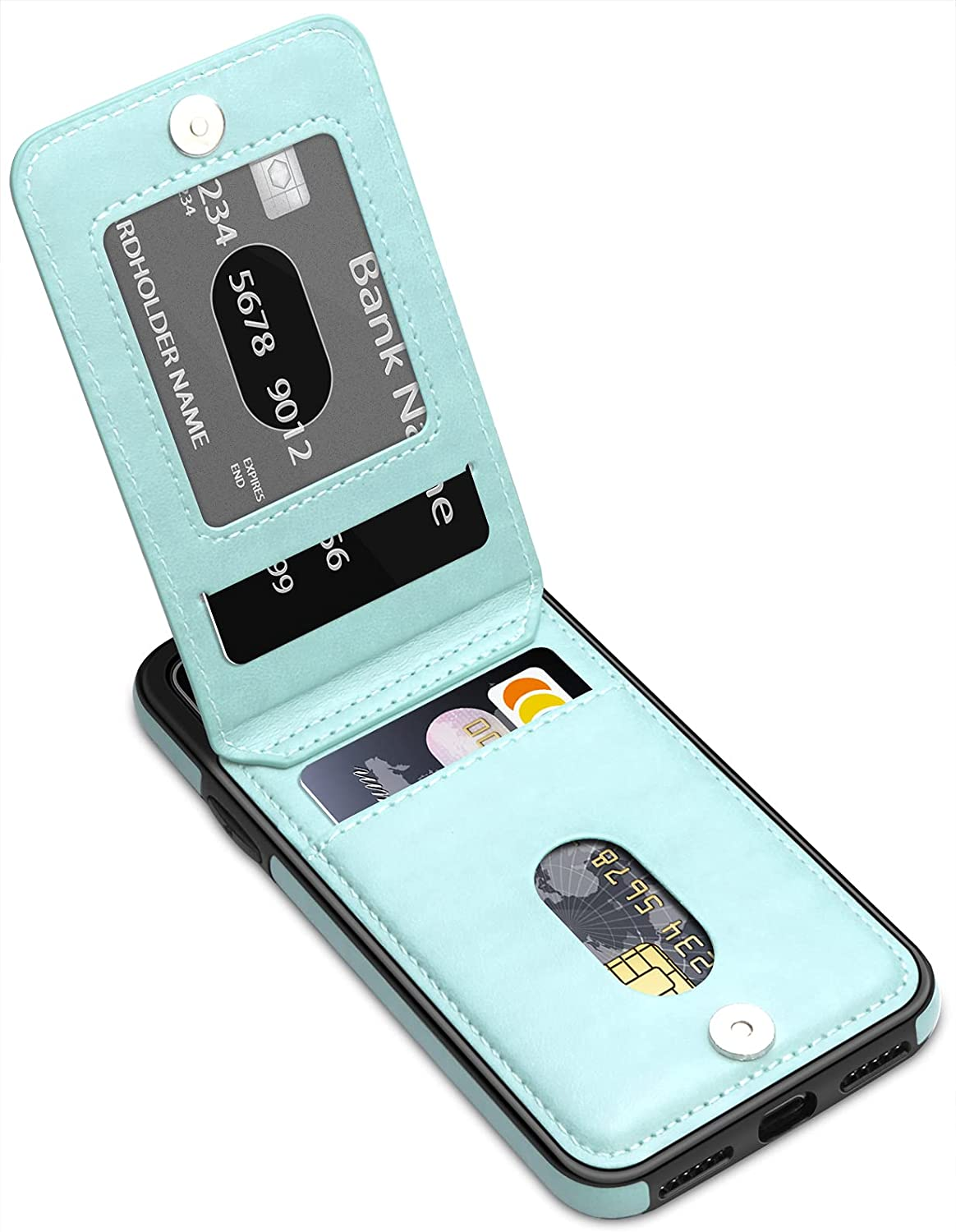 LakiBeibi for iPhone XR Case for Women Girls, Dual Layer Premium Leather iPhone XR Wallet Case with Card Holders Flip Shockproof Protective Case for iPhone XR Phone Case 6.1 Inches (2018), Mint