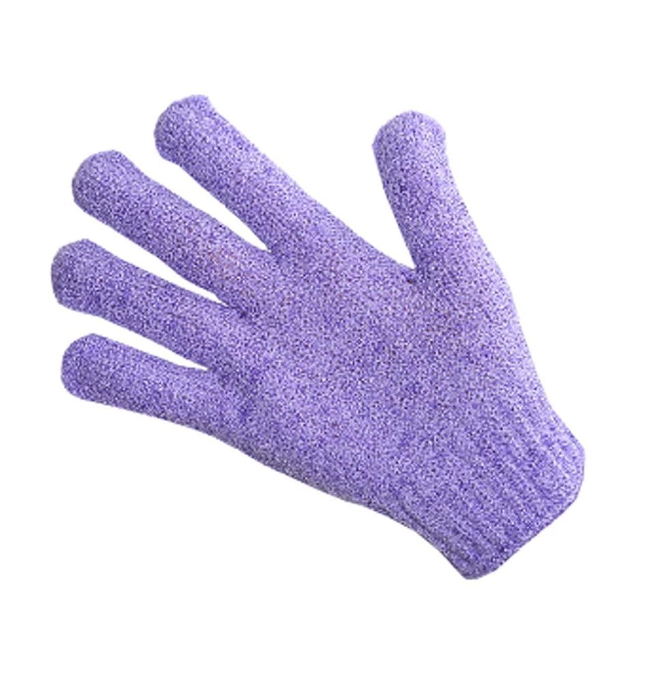 批判する保護苗指、バスタオルエクスフォリエイティングラビングタオルボディバック-1ペア、紫