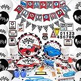 WERNNSAI Articoli per Feste per Auto da Corsa - Decorazioni per Feste di Compleanno per Ragazzi Banner Palloncini Tovaglia Piatti Tazze Tovaglioli Cupcake Toppers Serve 16 Ospiti 140 Pezzi