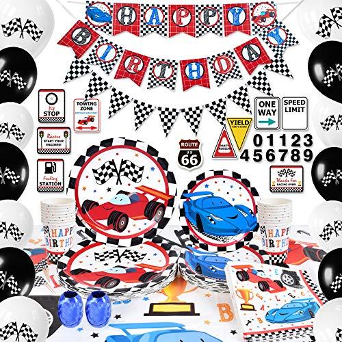 WERNNSAI Suministros para Fiestas de Autos de Carreras - Decoraciones de Fiesta de Cumpleaños para Niños Banner Globos Mantel Platos Tazas Servilletas Cupcake Toppers Sirve 16 Invitados 140 Piezas