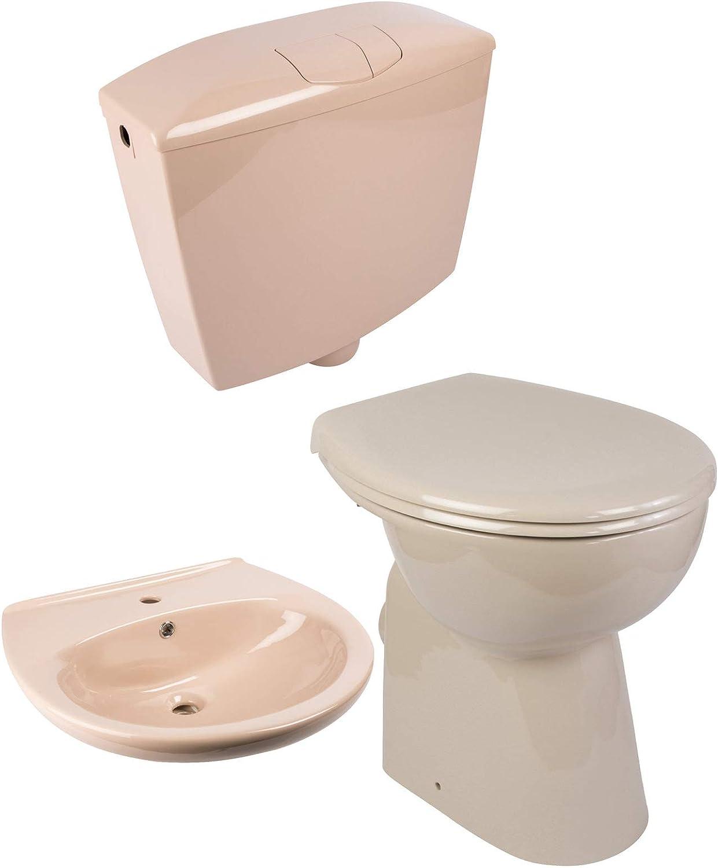 Calmwaters - Riou - Erhhtes Stand-WC ohne Rand im Set mit WC-Sitz, Spülkasten & Waschtisch in Beige - 99000199