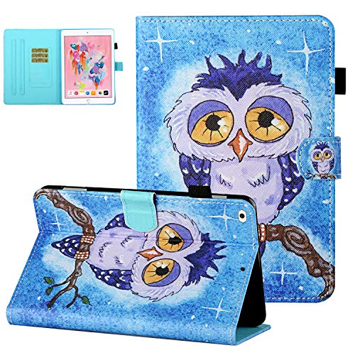 Case for iPad Mini 5th Generation 2019 (7.9 Inch), iPad Mini 4 Case 2015, Mini 3/Mini 2/Mini 1 Case with Pen Holder, UGOcase PU Leather Auto Sleep Wake Card Slots for iPad Mini 7.9 Inch - Lonely Owl