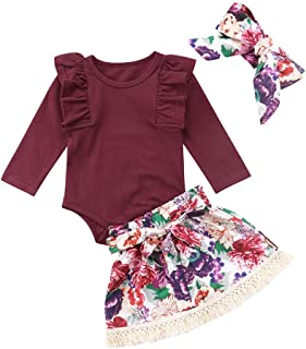 3Pcs/Set Newborn Infant Baby Girl Ruffle Long Sleeve Romper+Floral Skirt+Headband Outfits