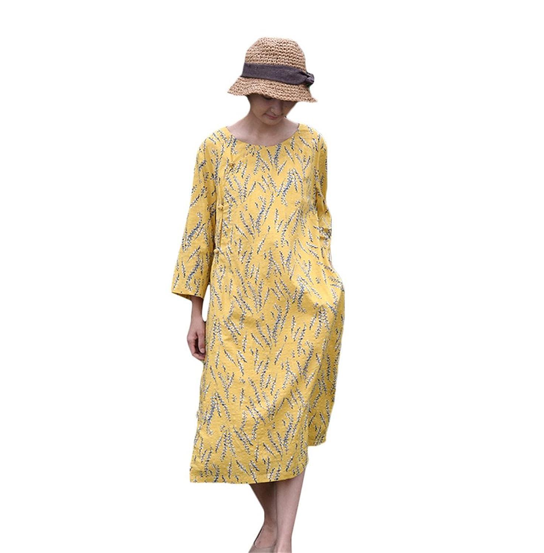 [美しいです] レディース ワンピース 七分袖 夏 秋 冬 Aライン スリム 欧米風 ハーフ丈 ウエスト締める 綿麻
