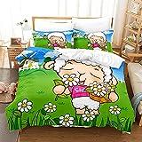 JXSMYT Sheep Juego de ropa de cama de 3 piezas, 135 x 200 cm, 2 fundas de almohada para niños (My-4,155 x 220 cm + 2 x 50 x 75 cm)