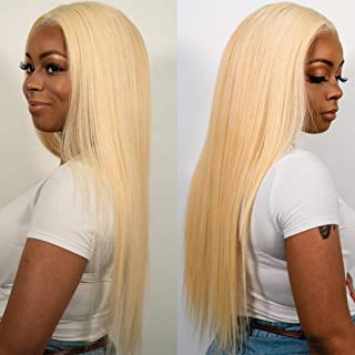 613 Blonde Human Hair Wig Straight Lace Front Wigs Pre Plucked 150% Density Lace Wig 100% Brazilian Virgin Remy Hair Wigs with Baby Hair for Women 13�4 Ear to Ear Free Part (18 Inch,#613)