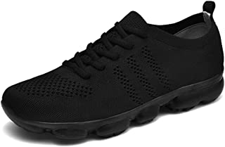 XUJW-Shoes, Athletic Shoes for Men Sports Shoes Lace Up Style Mesh Material Hollow High Elastic Fashion Jelly Glue Sole Durable Comfortable Walking Classic Soft (Color : Black, Size : 8 UK)