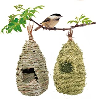 2 Pack Bird Houses for Outside, Birdhouses, Hummingbird House Nest Hanging Bird Nest Fiber Hand-Woven Bird House Roosting Pocket, Bird Hideaway from Predators Provides shelter for Finch & Canary