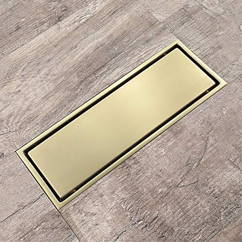 PIJN Bodenablauf Rechteckige Brushed Goldene Deodorant Bodenablauf Edelstahl (Color : Metallic, Size : 300x110x48mm)